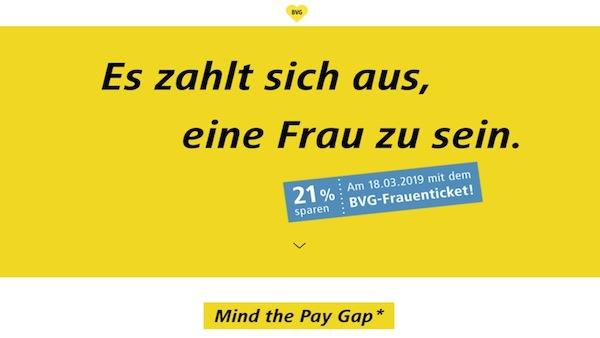 男女の賃金格差が21 %のドイツ  「イコール・ペイ・デイ」にベルリン交通が女性を21%割引へ