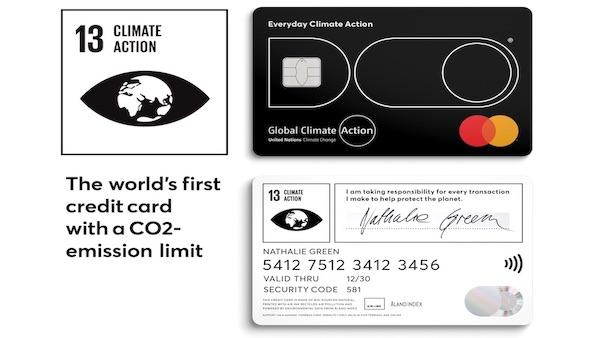 世界初のCO2制限付きクレジットカード 買い物でCO2排出量を超えると使用...